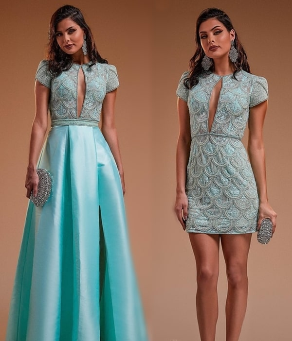 vestido longo tiffany 2 em 1