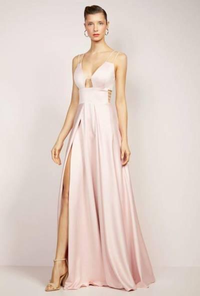 vestido de festa cor de rosa longo