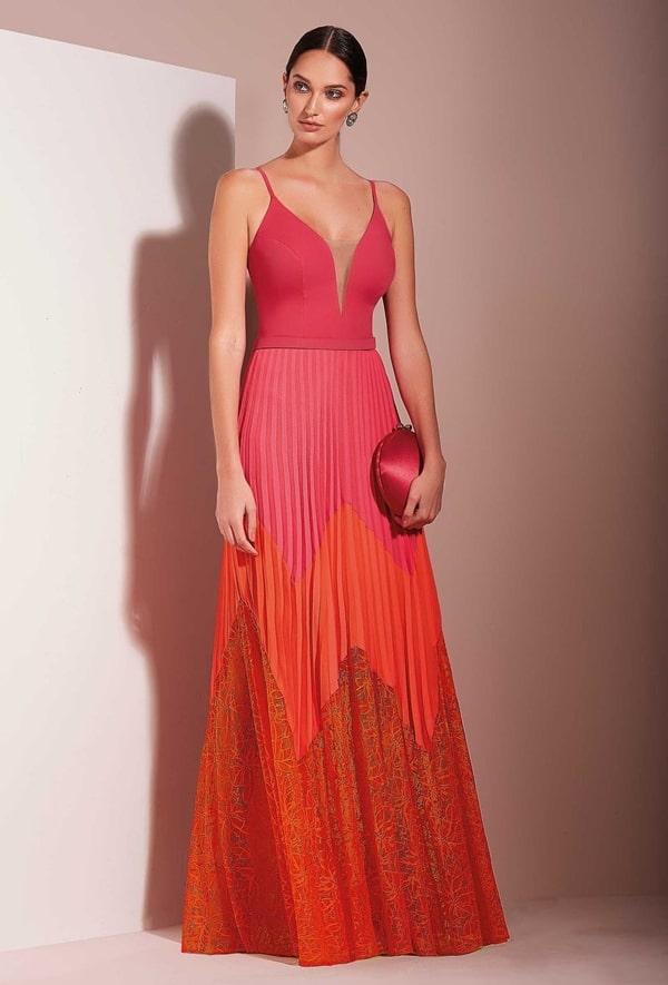 vestido de festa longo bicolor pink e laranja