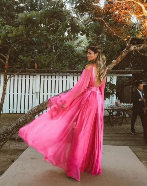 thassia naves vestido de festa pink