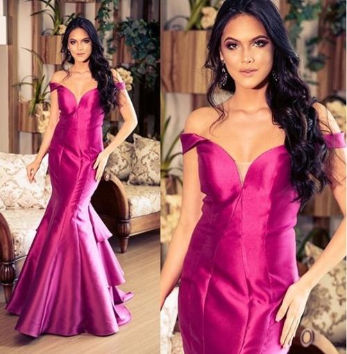 vestido de festa longo magenta