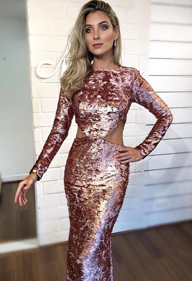 vestido rose gold bordado