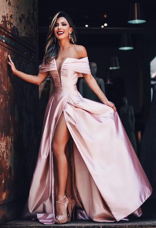 vestido de festa ombro a ombro