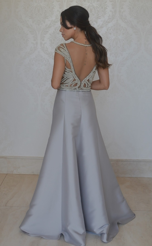 vestido de festa cinza e prata