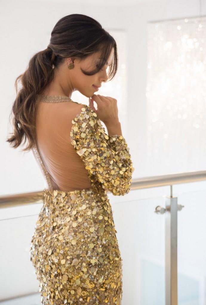 vestido longo paetês