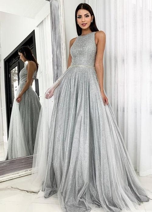 15 vestidos de festa prata e cinza para formandas e madrinhas