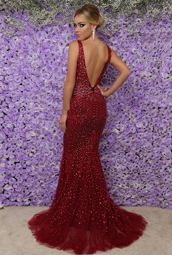 Atractivo Vestidos De Dama De Color Rojo Menores De 50 Años Galería ...
