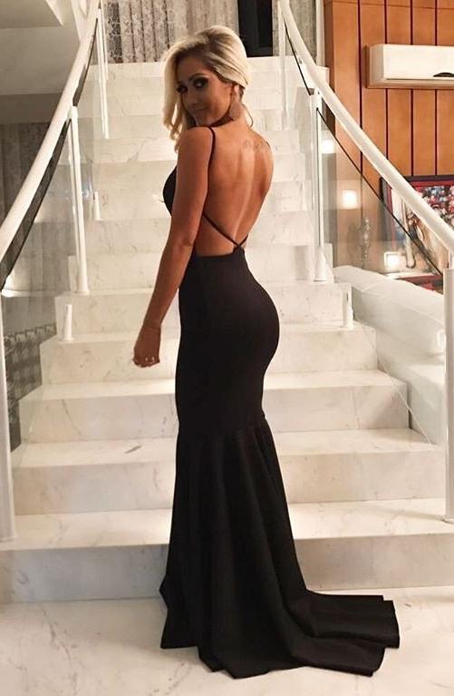 vestido longo preto para casamento e formatura