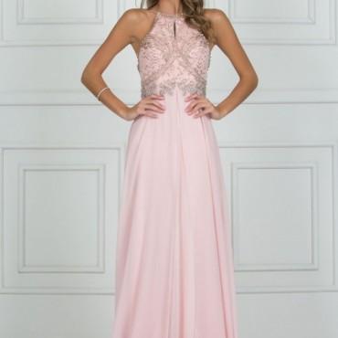 vestido de festa em tons de rosa