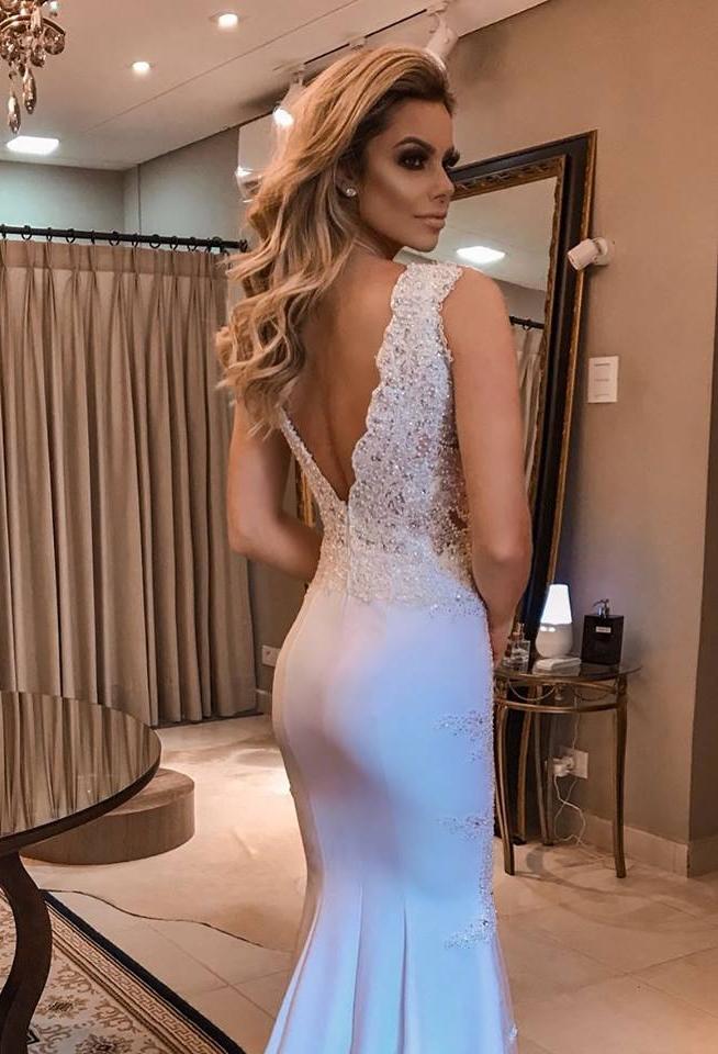 vestido de festa branco formatura