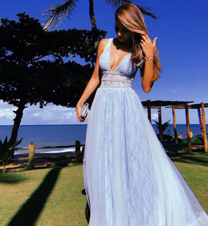 vestido de festa azul claro