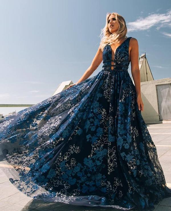 vestido de formatura azul