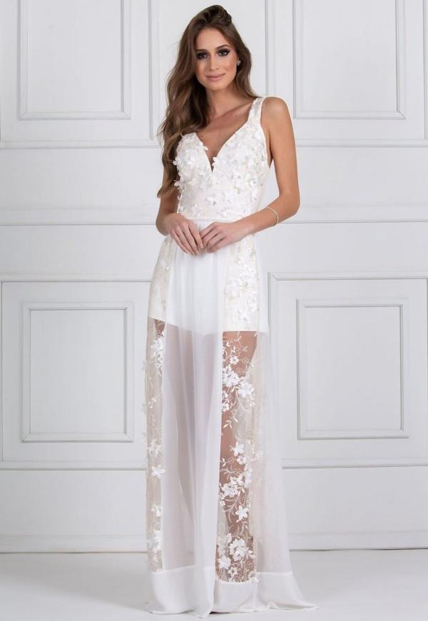 vestido longo branco pre wedding ou reveillon