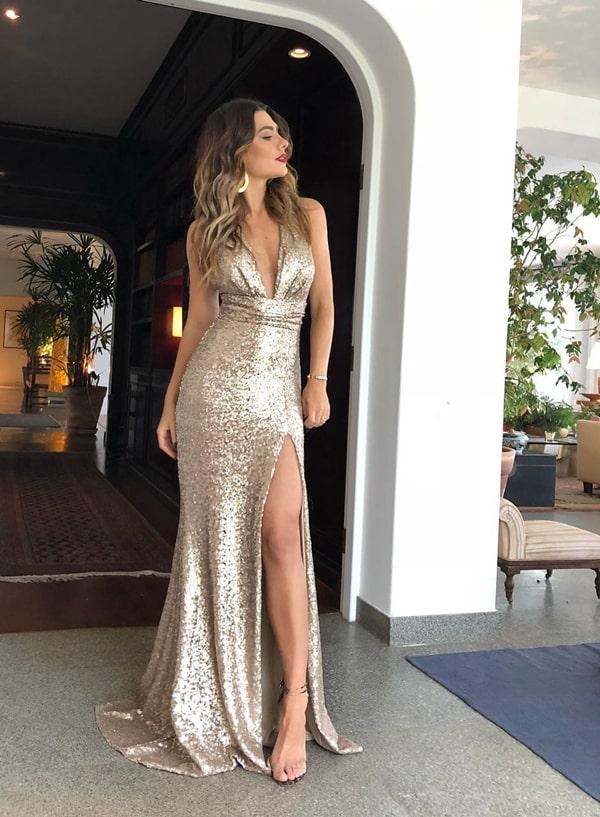 vestido longo paetes dourado champanhe