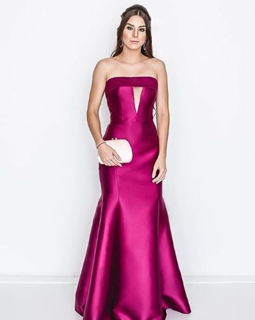vestido de festa roxo ou fucsia