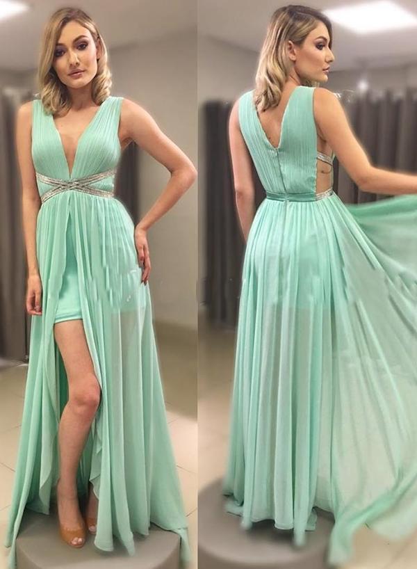 vestido longo verde