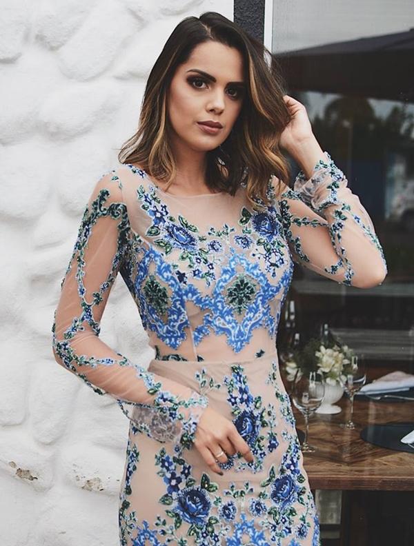 vestido de festa com manga longa 2018