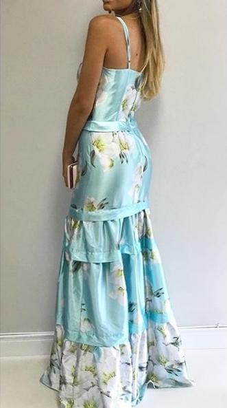 vestido longo estampado para madrinha de casamento