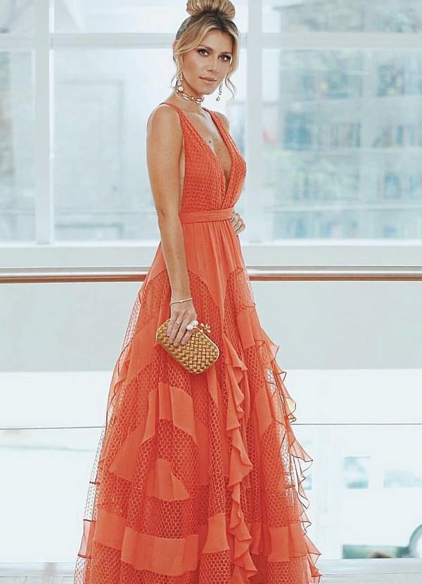 vestido de festa longo laranja coral nati vozza
