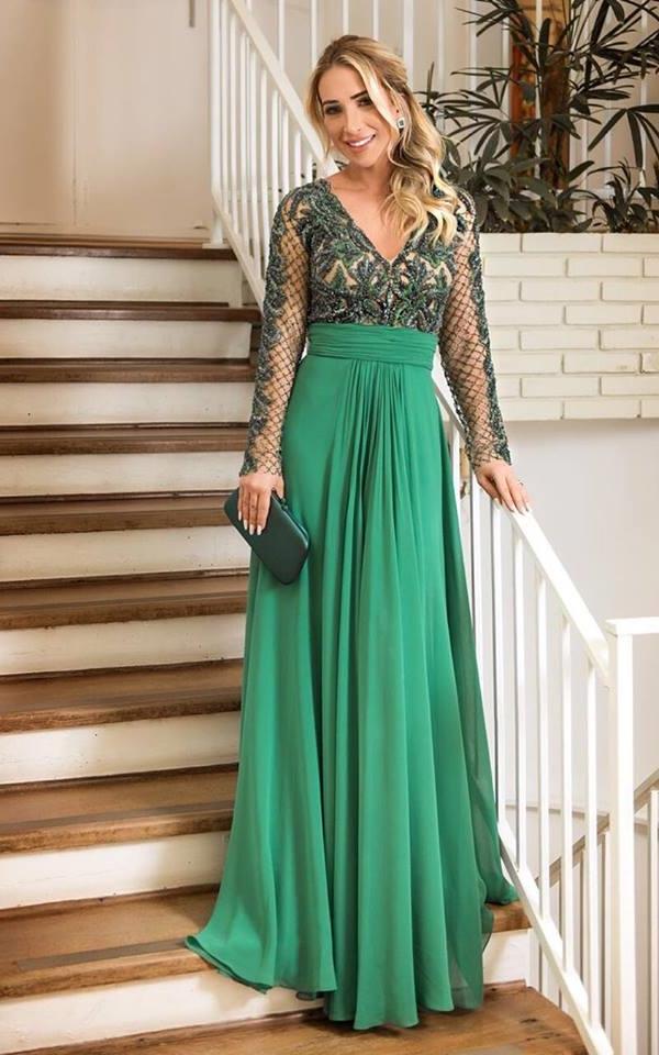 vestido de festa verde manga longa