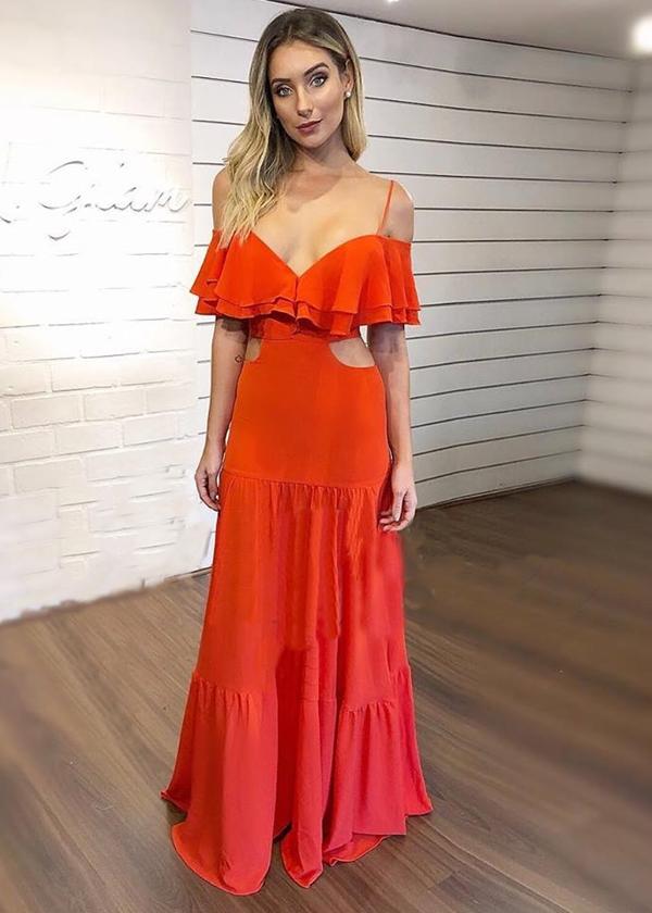 vestido longo coral ou laranja
