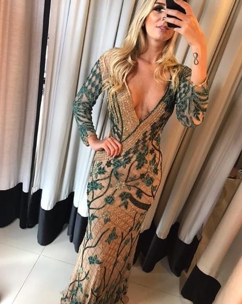 vestido de festa com manga