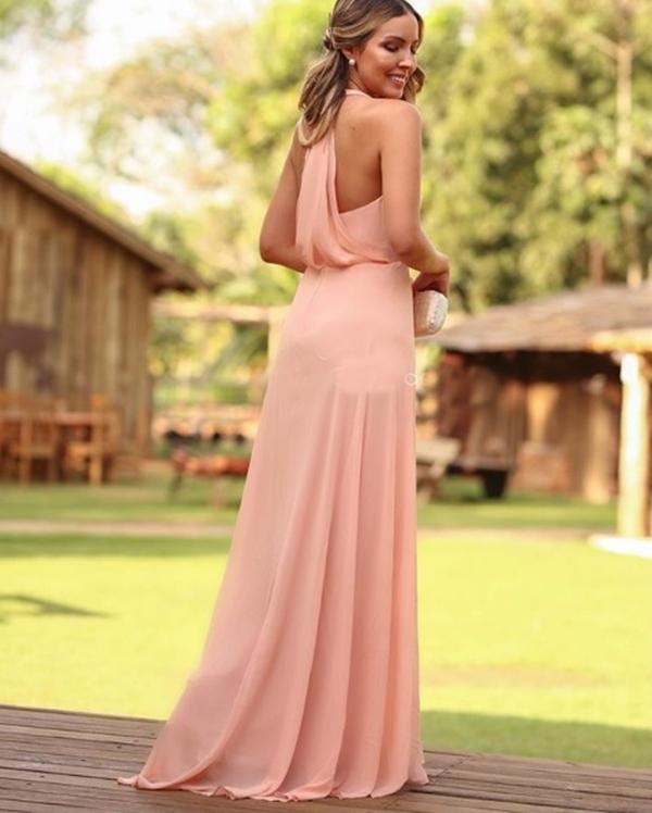 vestido longo salmão