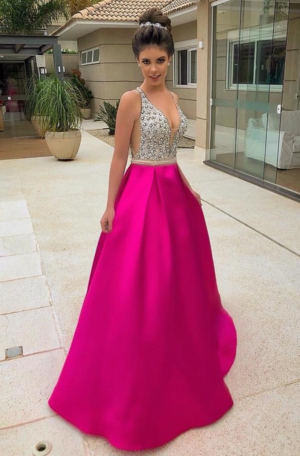 vestido pink longo estilo princesa