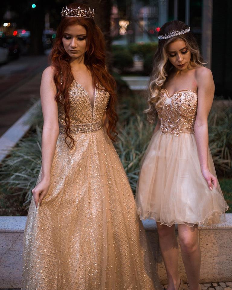 vestido de debutante dourado
