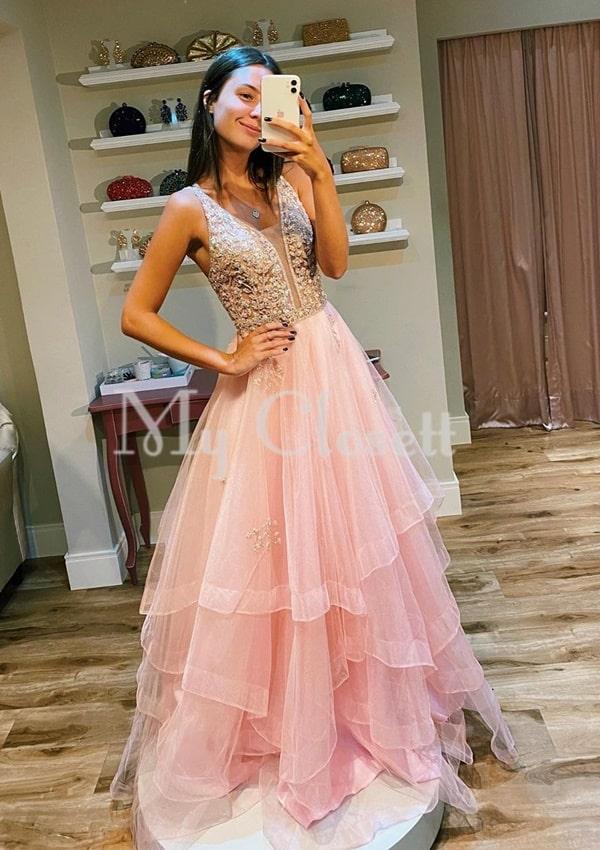 vestido longo rose para debutante festa de 15 anos