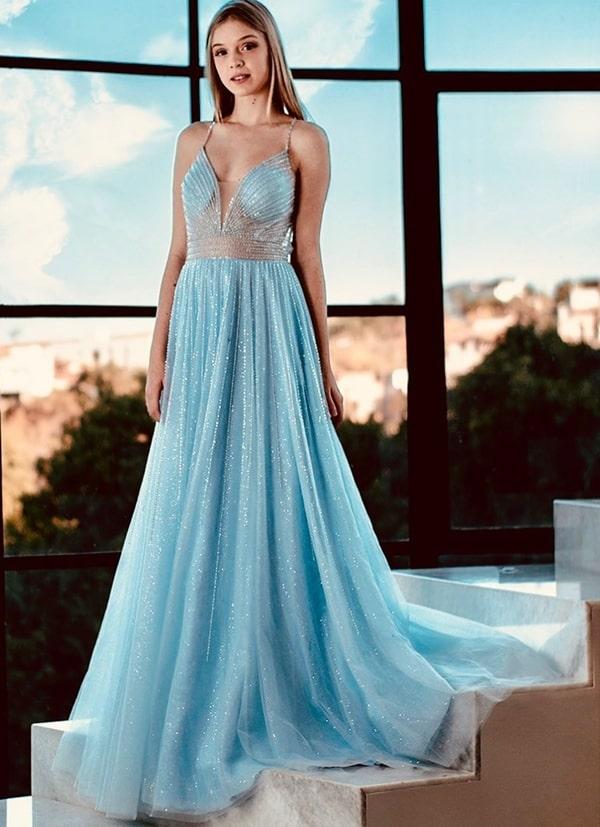 vestido longo azul serenity com brilho