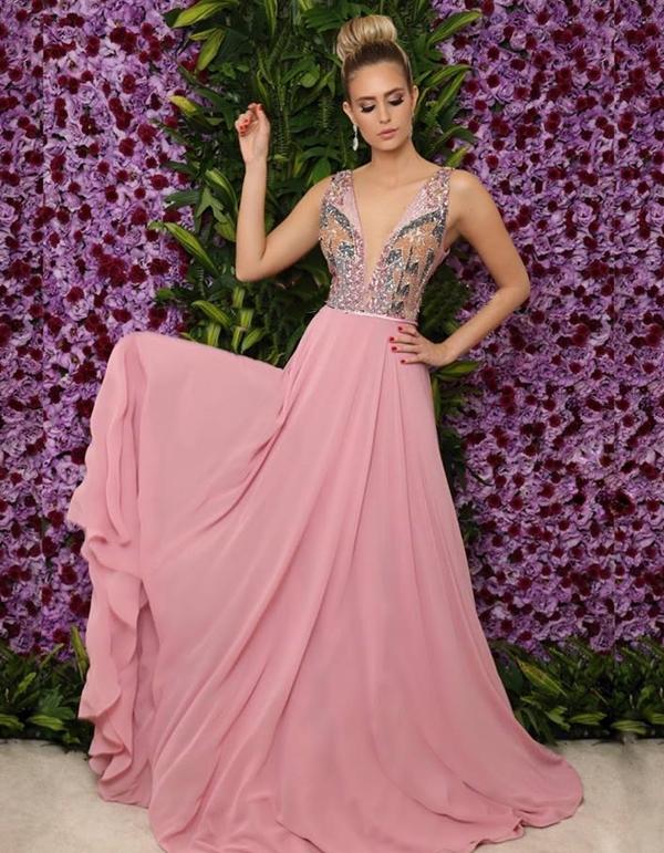 vestido longo rosa queimado para madrinha