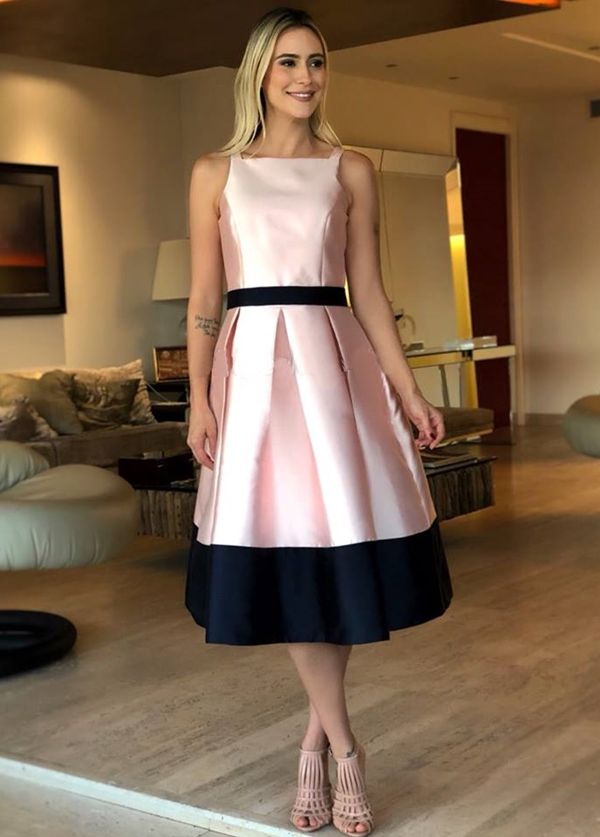 vestido de festa midi rosa