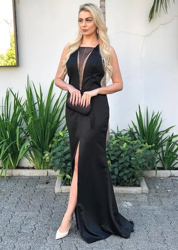 vestido de festa preto longo com fenda