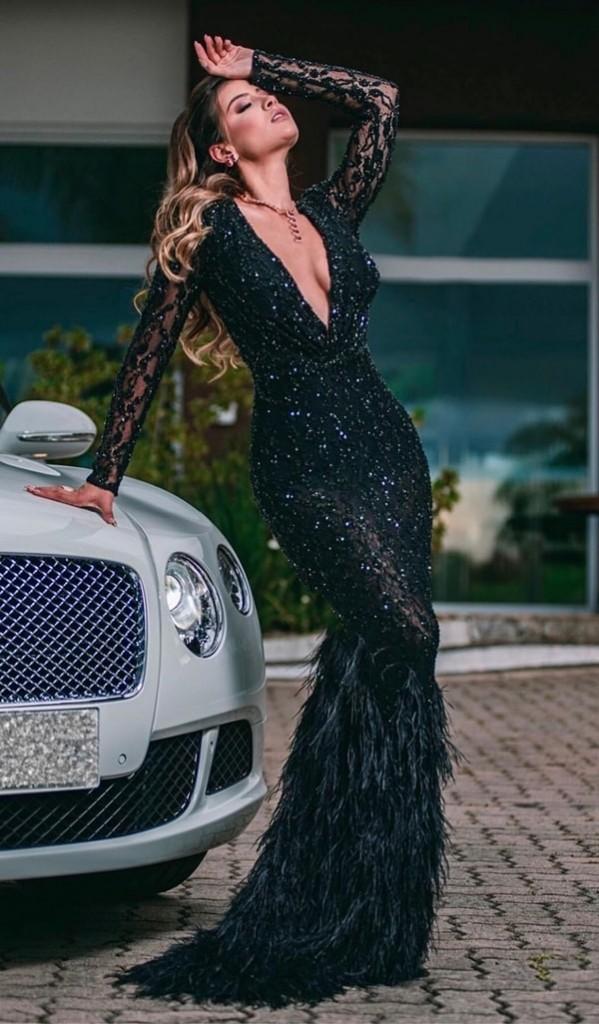vestido de festa preto longo bordado