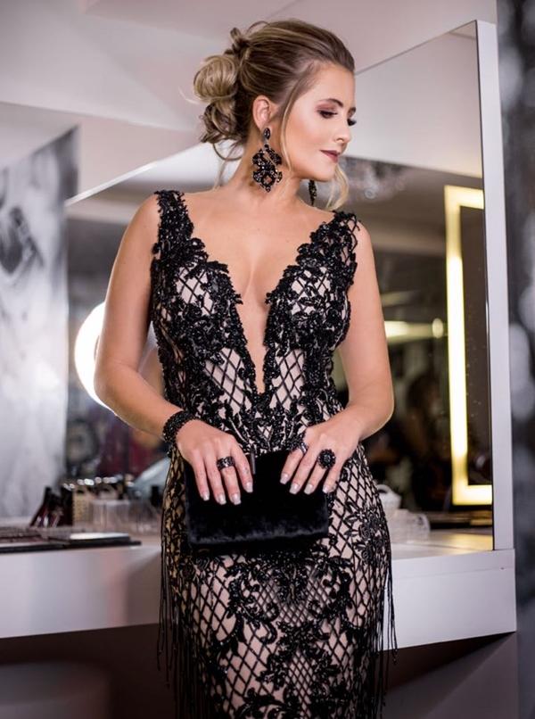 vestido de festa preto longo formatura