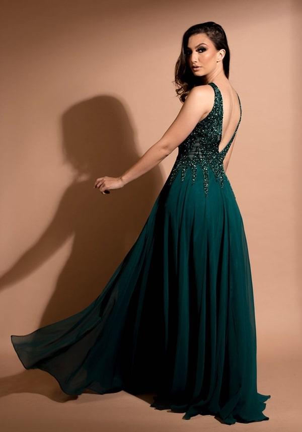 vestido de festa verde esmeralda para formanda