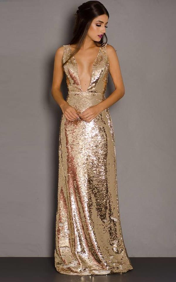 vestido longo de paetê dourado