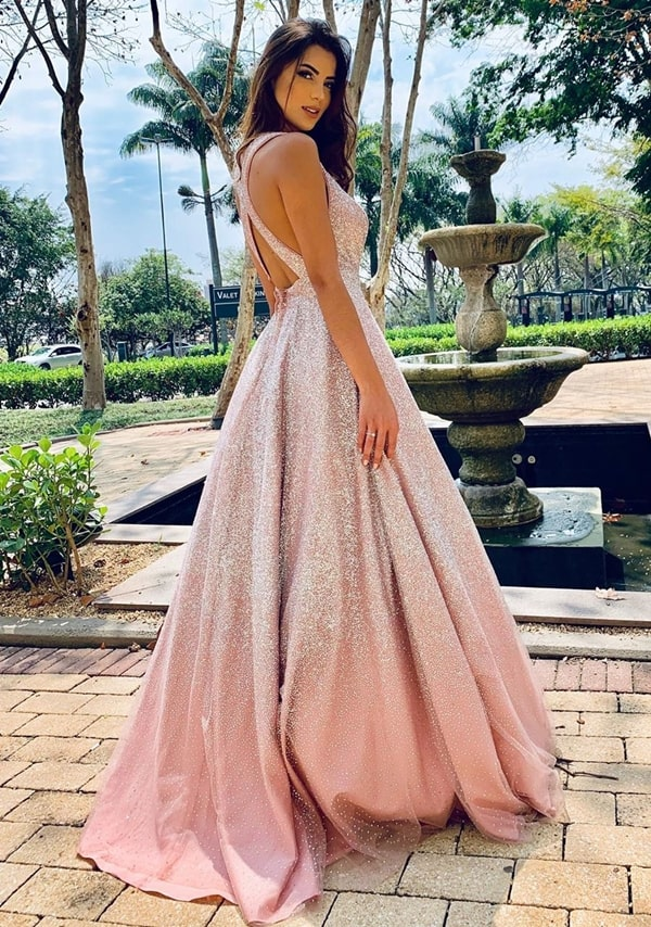 vestido estilo princesa com glitter para debutante festa de 15 anos