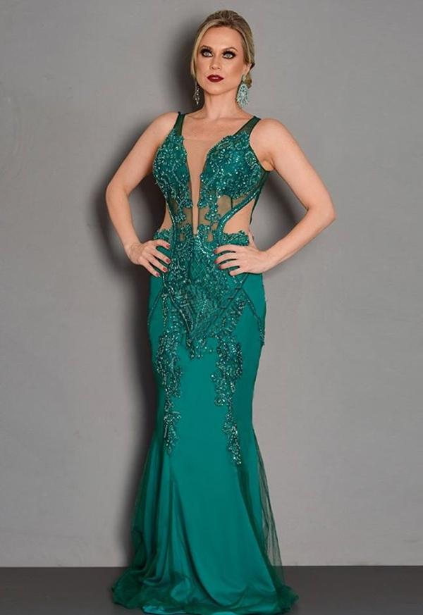 vestido de festa verde esmeralda formatura