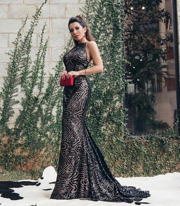 vestido longo de paete