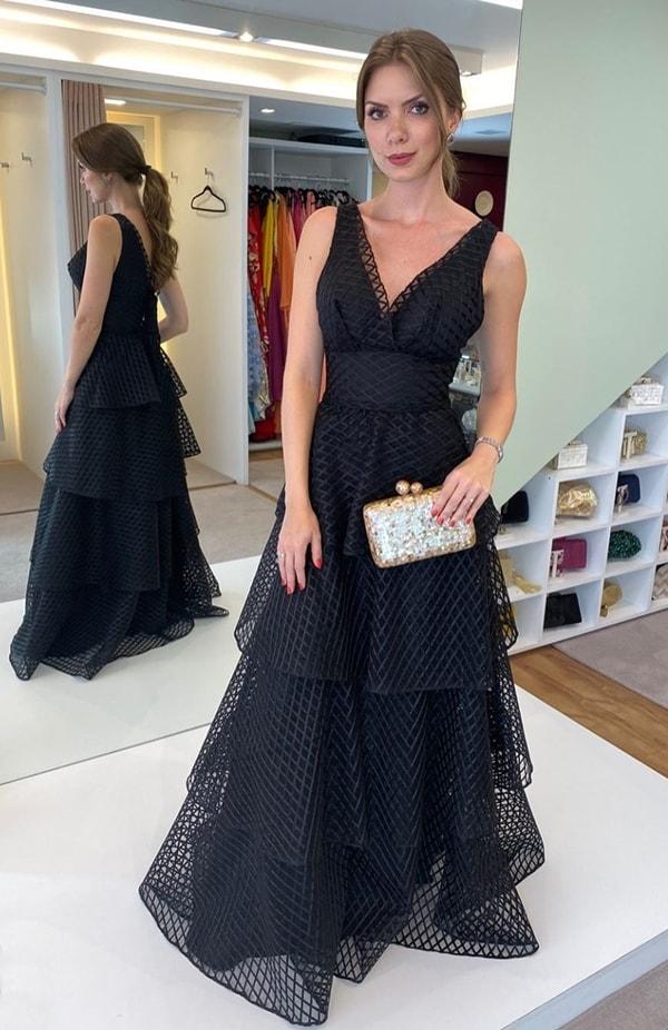 vestido longo preto para madrinha de casamento