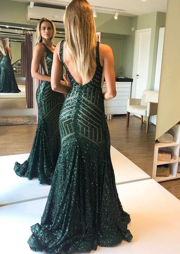 vestido de festa longo verde com brilho para formanda
