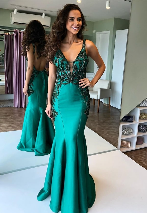 vestido longo verde modelo sereia