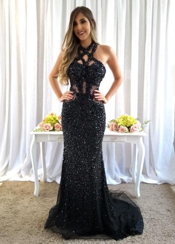 vestido de festa longo preto formatura