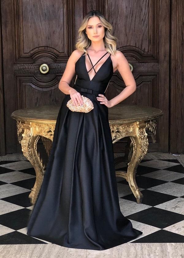 vestido de festa longo preto estilo princesa para madrinha de casamento