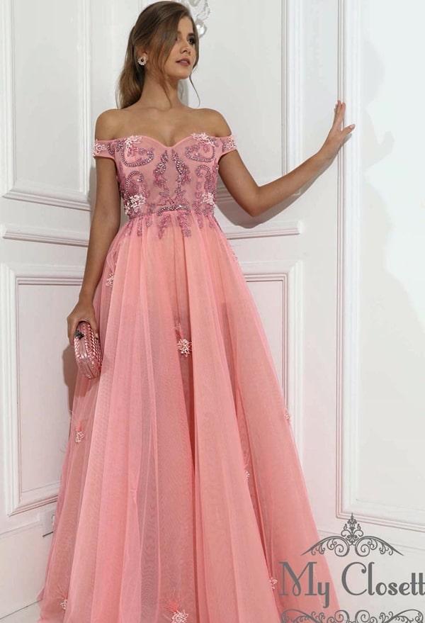 vestido de festa longo rosa com corpete bordado