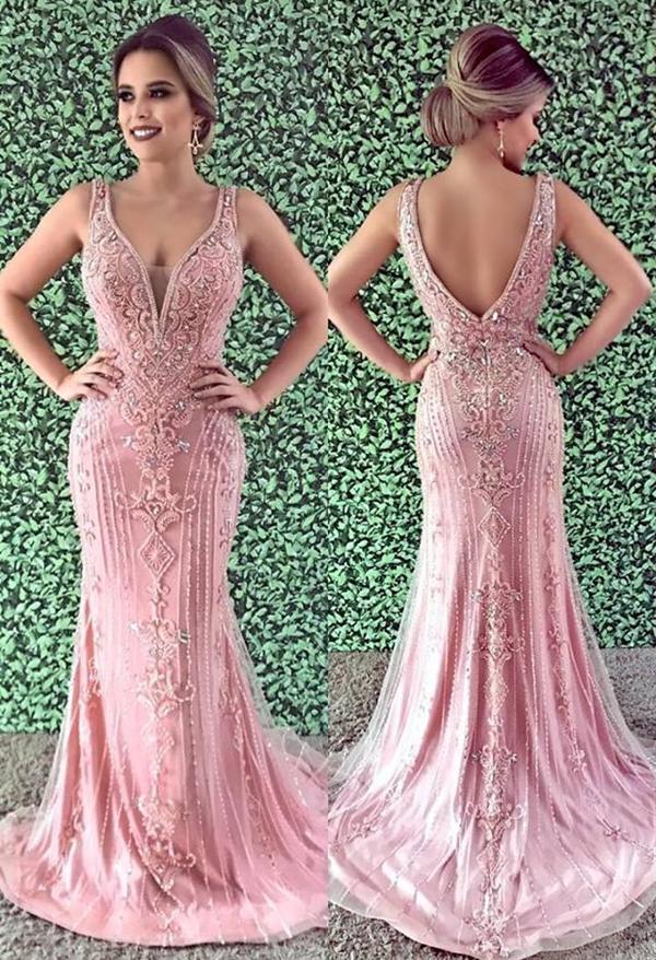 vestido rose bordado