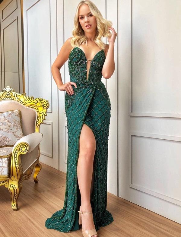 vestido verde bordado para formanda