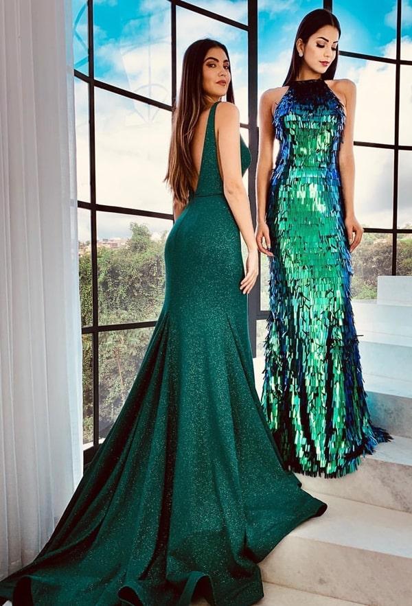 vestido de festa longo verde para formatura